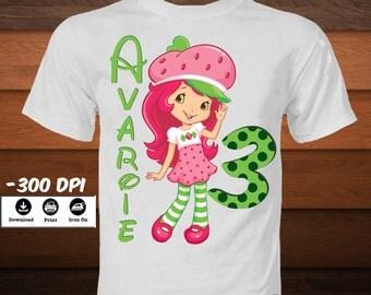 Personalized Strawberry Shortcake Iron on Transfer T-Shirt-Printable Strawberry Shortcake Birthday Shirt-DIY party decoration-DIGITAL  IMAGE