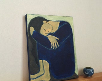 A Morning Doze: Original Acrylic Painting by Kyoko Watanabe