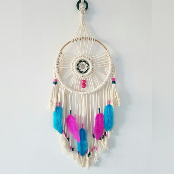Boho Macrame Dreamcatcher, Large Dreamcatcher with Blue and Pink Feathers, Dream Catcher Wall Hanging,  Modern Bohemian Decor