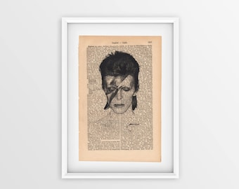 David Bowie printed on an old page, vintage print of David Bowie a page from 1877, Gothic font on yellow page, Aladdin Sane printed