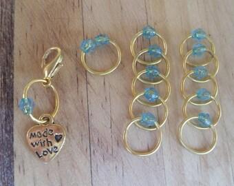 Stitch Marker Set Gold/Aqua Blue