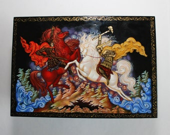 """SALE! -20% Russian Lacquer box. Based on """"A Song of ice and fire"""" by George R. R. Martin. Russian Lacquer miniature . Game of thrones"""