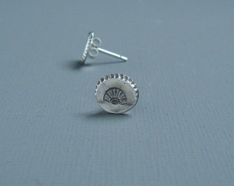 Art Deco Fan Stud Earrings Cast in Sterling Silver from An Antique Glass Button From The 1920's