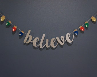 BELIEVE Silver Glitter Banner Sign with 'Christmas Lights'   Christmas Winter Holiday Party Decor, Mantle, Family Card, Premium Double-Back