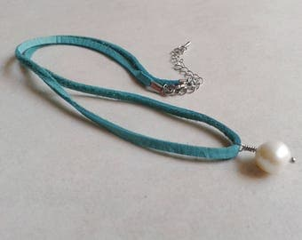 Necklace leather, suede, turquoise, Pearl River, boho
