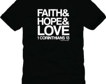 Faith Hope Love on black shirt with white print
