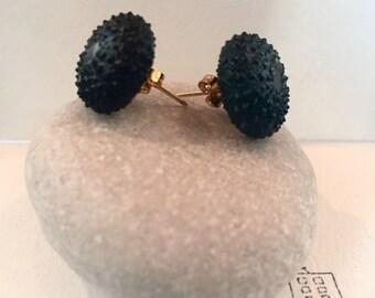 Sea urchin shell earrings - dark green