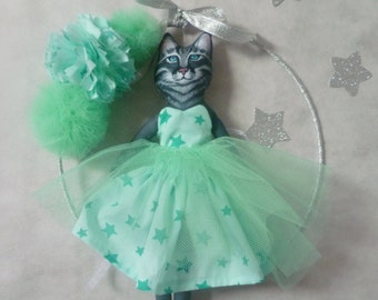 Cat in a tutu and its water Mint tulle PomPoms