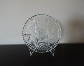 Serving DISH, PLATE glass, 4 sections, vintage