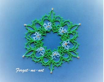 Forget-Me-Not tatting pattern PDF, tatted in white with beads makes a lovely snowflake