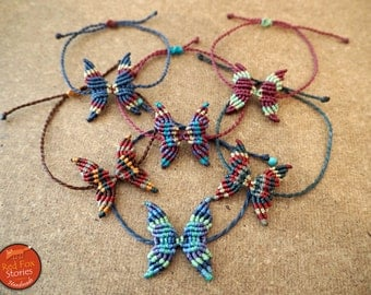 Macrame butterfly bracelet, butterfly macrame, macrame bracelet, macrame jewelry. bohemian bracelet, butterfly bracelet,  egst