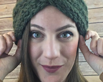Turban headband - crochet headband, knit headband, earwarmer, knit ear warmer, twist headband, chunky headband, winter headband - Moss