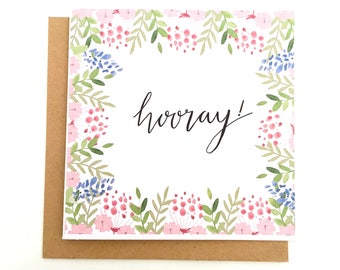 Floral 'Hooray' Card, Floral Birthday Card, Floral Greetings Card