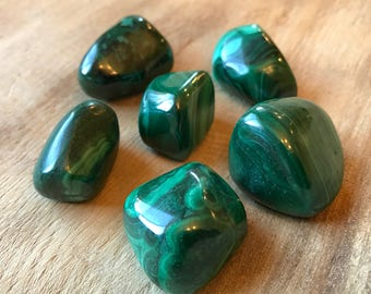 Malachite, Medium, Tumbled Malachite, Top Quality, Chakra Healing, Stone of Transformation, Energy Cleaning, Transformation, Luck
