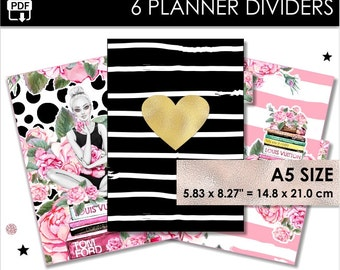 Girl A5 Size Planner Dividers Filofax A5 Websters Pages A5 Kikki K Large 6 Tabs Inserts Books Gold Black Fashion Download Pdf PRINTABLE