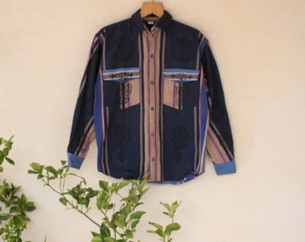 Vintage Stripe Hippy Long Sleeved Shirt //Made In Nepal// - Size Medium