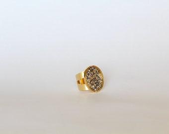 Silver-Gold-Clear Swarovski Ring, Swarovski Ring, Adjustable Ring, Adjustable Swarovski Ring, Statement Ring, Fashion Ring, Crystals Ring