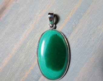 Malachite pendant in Sterling Silver