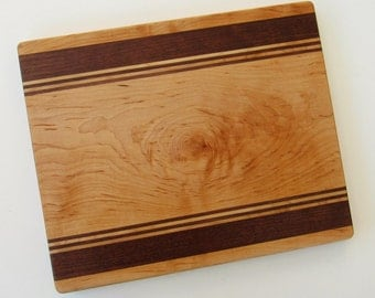 Handcrafted Cutting Board, Kitchen Board, Hardwood Stripes, Inlaid Wood Cutting Board, Maple Bread Board, Housewarming Present, Wedding Gift