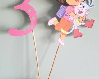 Dora and boots with age cake topper