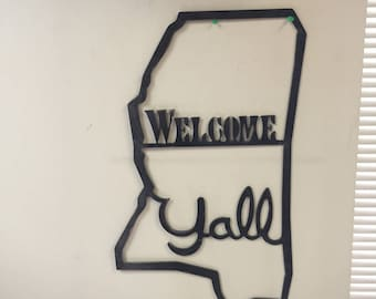Welcome Y'all Mississippi metal sign