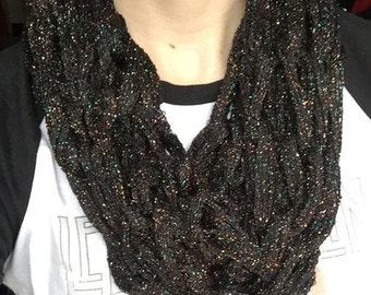 Metallic Black Knit Infinity Scarf
