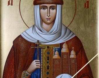 Saint Olga, Christian orthodox holy icon, original hagiography, hand painted on request, η Αγία Όλγα, ορθόδοξη βυζαντινή αγιογραφία, εικόνα