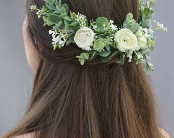 Flower crown wedding, bridal flower hair comb, flower half crown, extended flower hair comb, flower headband