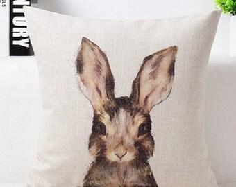 """Cotton Linen Decorative Pillow case 18"""" Cute Young Rabbit"""