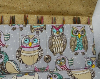 "4"" Double Point Knitting Needle Case, Sock Knitting Needle Case, Cable needle case, Owl Needle Case"