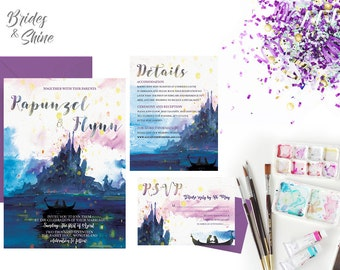 Disney Wedding Tangled Invitation, Printable Disney Wedding Invitation Suite ,Disney theme Wedding Stationary , Princess Rapunzel Invitation