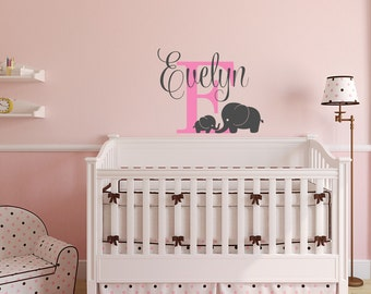 Personalized Name Elephant Wall Decal - Elephant Name Wall Decal - Elephant Baby Room Decor - Kids Wall Decal Decor for Nursery Bedroom