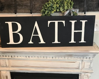 Large Bath sign | bathroom sign | farmhouse style | hand painted sign | laundry room