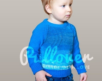 Hand knit kids pullover sweater Kids jumper Unisex kids pullover sweater Long sleeves baby top