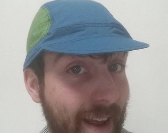 Funky cycling cap  (blue and green)