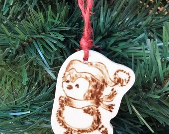 Christmas decoration with wooden Penguin with shoes-Pirografata
