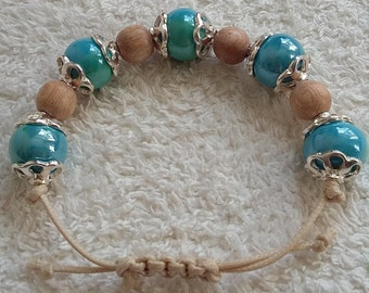 Turquoise and blue two colour ceramic bracelet