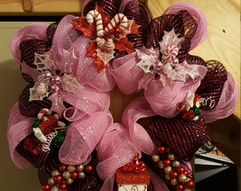 Pink and Black with Pink stripes Christmas Deco Mesh Wreath