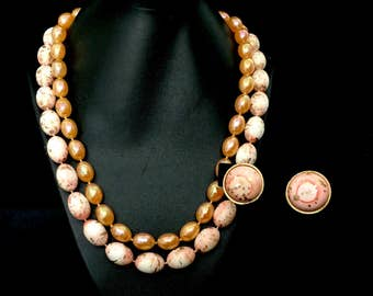 50's Tangerine ,Gold and White Necklace and Earrings  GJ2530