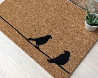 Birds On A Wire Doormat / Custom Doormat / Handmade / Gifts For Her / Gifts