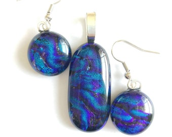 Blue/Purple Dichroic Glass Pendant and Earrings
