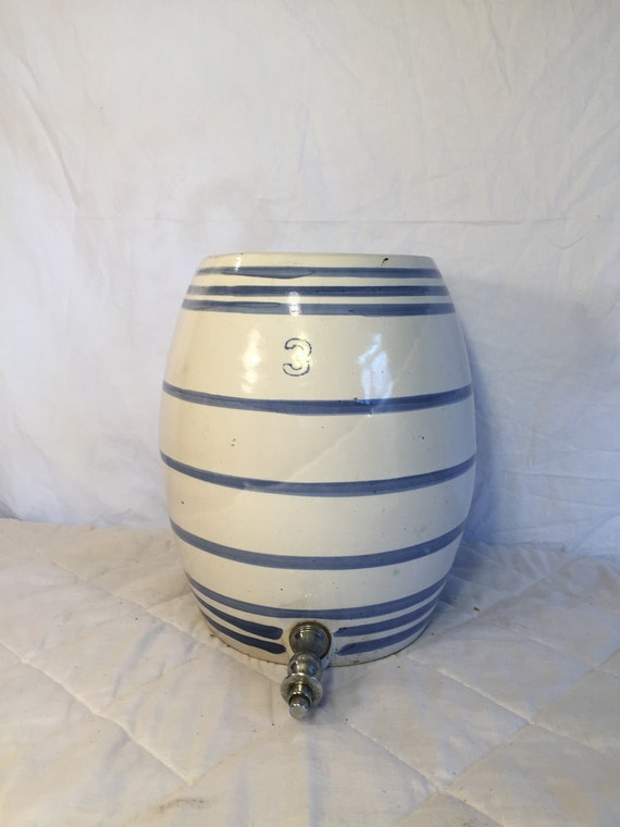 3 Gallon 1920 S Stoneware Water Cooler Water Crock Blue