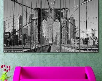 Brooklyn Bridge art, Canvas Art, Brooklyn Bridge Canvas, Brooklyn Bridge Print, Canvas Gallery, Wall Decor, CityBridge Wall Decor, Bridge