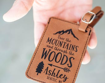 Travel Gifts, Luggage Tag, Adventure Quote Bag Tag, Over the Mountains and through the Woods, Personalized Name Tag, National Park LT35