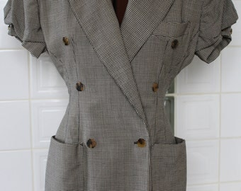 Gingham striped lining Jean-Paul Gaultier short-sleeve jacket late 80s size SMALL