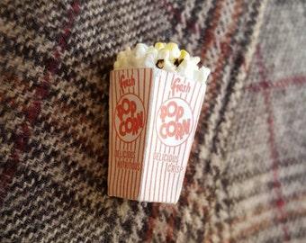 Popcorn Pin, popcorn brooch, kitschy pin, kitschy, miniature, novelty pin, lapel pin, kitschy jewelry, popcorn