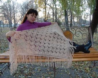 Crochet Shawl Knit Shawl Wool Shawl Fringe Shawl Lace Shawl Warm Shawl Winter Shawl Autumn Shawl Crochet Scarf Knit Scarf Winter Scarf