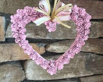 Mini wreaths, Valentine's gifts, Valentine's ornament, mother's day, Valentine's heart, pinecone wreaths, spring wreath, heart wreath