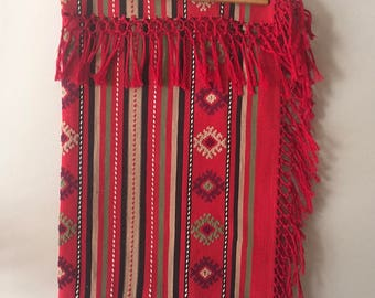 PRICE REDUCED * Red Southwestern Tapestry with Border Fringe