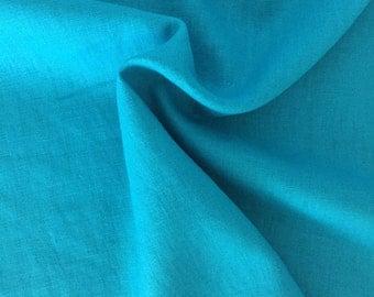 Linen fabric, uni, turquoise article 7215